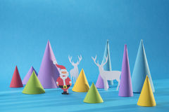 El papel de la Navidad 3d cortó la tarjeta hecha a mano del color de santa Fotografía de archivo