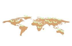 el papel en la forma del mundo y del verde sale de concepto del ambiente Imagenes de archivo