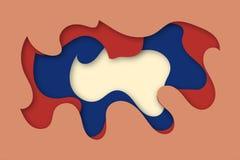 El papel multi de la textura 3D del color de las capas cortó capas en pendiente El papel abstracto cortó el diseño del fondo del  Imágenes de archivo libres de regalías