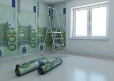 El papel pintado modeló el euro como símbolo - el dinero f stock de ilustración