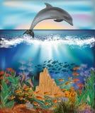 El papel pintado subacuático con el delfín y la arena se escudan, vector Fotografía de archivo libre de regalías