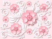 El papel rosa claro del vector cortó el fondo floral con las flores y las hojas Imagenes de archivo