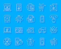 El papel simple de la tienda en línea cortó el sistema del vector de los iconos ilustración del vector