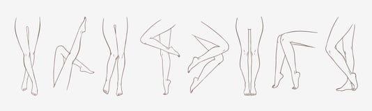 El paquete de piernas femeninas en diversas actitudes o las posturas da exhausto con las líneas de contorno Colección de dibujos  ilustración del vector