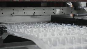 El paquete disponible de la comida tiene cuidado con la fábrica, cadena de producción del envase de los huevos almacen de video