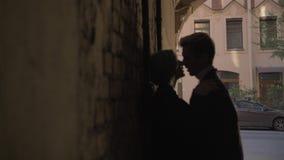 El par apasionado es que se besa y de abrazo en la oscuridad metrajes