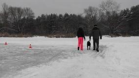 El par camina con el perro en el lago congelado cerca del bosque durante las nevadas, opinión de la parte posterior almacen de metraje de vídeo