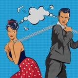 El par compite La cadena de tirones del hombre y de la mujer Ilustración del vector Fotos de archivo