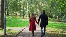 El par de amor lleva a cabo las manos mientras que camina en el parque almacen de video