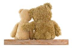 El par de los osos marrones lindos que se sientan en la madera que se abraza es Imagen de archivo