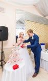 El par hermoso de la boda está vertiendo el champán dentro Belleza del interior nupcial para la boda Imagen de archivo