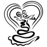 El par hermoso en amor realiza la danza sensual, corazón stock de ilustración