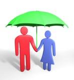 El par humano abstracto se coloca debajo del paraguas Imágenes de archivo libres de regalías
