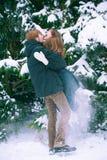 El par joven goza de la nieve Imagen de archivo