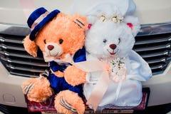 El par juega el oso de peluche Foto de archivo