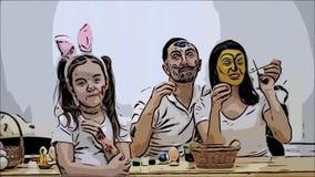 El par lindo colorizing con una ayuda de la brocha de Pascua Su hija dice: ?Verg?enza en usted que he crecido