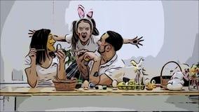 El par lindo colorizing los huevos de Pascua Su hija dice soportes en el sof?, detr?s de padres y los asusta infantil
