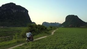 El par monta la vespa a lo largo de la pista rural más allá del campo del cacahuete almacen de video