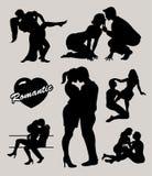 El par romántico del amor siluetea 2 Imágenes de archivo libres de regalías