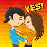 El par romántico está abrazando ilustración del vector