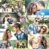 El par se divierte en el collage del parque Imagen de archivo libre de regalías