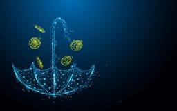 El paraguas con las líneas de la forma de la lluvia del dinero, los triángulos y estilo de la partícula diseña ilustración del vector