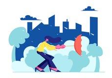 El paraguas de la tenencia del habitante de ciudad de la mujer dio vuelta a Inside Out en fuerte viento con lluvia en fondo urban ilustración del vector