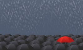 El paraguas rojo se destaca de la muchedumbre gris ilustración del vector