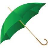 El paraguas verde representado en un blanco stock de ilustración