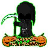 El parca desea feliz Halloween en fondo blanco aislado Imágenes de archivo libres de regalías