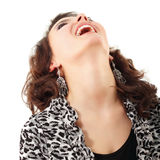 El parecer feliz de la muchacha adolescente para arriba aislado en blanco Foto de archivo