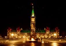El parlamento canadiense en la Navidad Fotos de archivo libres de regalías