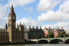 El parlamento de Londres y Ben grande Fotos de archivo