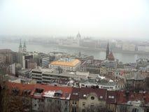 El parlamento de Scape de la ciudad de Budapest fotografía de archivo libre de regalías