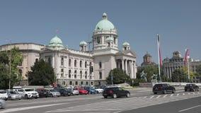 El parlamento de Serbia almacen de metraje de vídeo