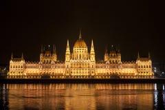 El parlamento detallado en Budapest en la noche Fotografía de archivo libre de regalías
