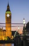 El parlamento en la puesta del sol Foto de archivo libre de regalías