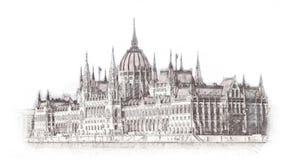 El parlamento húngaro dibujado mano en el ejemplo de Budapest Aislado en el fondo blanco stock de ilustración