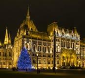 El parlamento húngaro en la noche Imagenes de archivo