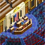 El parlamento Hall Us Vector Isometric People de Infographic de la elección libre illustration