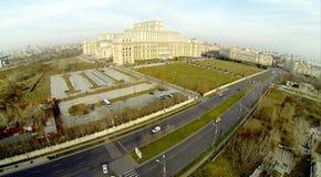 El parlamento rumano desde arriba de 2 fotos de archivo