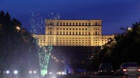 El parlamento rumano en Bucarest almacen de video