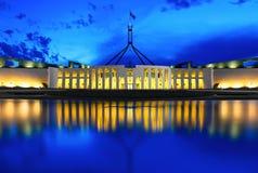 El parlamento y hora azul Fotografía de archivo