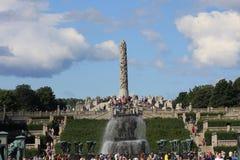 El parque único de la escultura es lifework del ` s de Gustav Vigeland con más de 200 esculturas en el bronce, granito y Fotografía de archivo