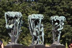 El parque único de la escultura es lifework del ` s de Gustav Vigeland con más de 200 esculturas en el bronce, granito y Fotos de archivo libres de regalías