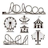 El parque de atracciones, las montañas rusas y el carrusel vector iconos ilustración del vector