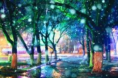 El parque de la ciudad de la noche enciende belleza del fondo del callejón Foto de archivo