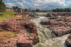 El parque de las caídas es una atracción turística importante en Sioux Falls, D del sur imagen de archivo libre de regalías
