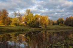 El parque del paisaje en Pavlovsk El amanecer frío Fotografía de archivo