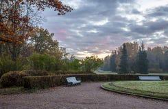 El parque del paisaje en Pavlovsk El amanecer frío Fotos de archivo